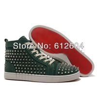 Vogue Dark green suede sneakers silver rivets sneakers for men brand red bottoms shoes height increasing shoes size 39-46