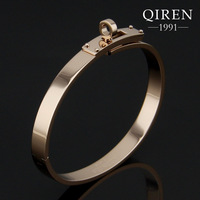 Fashion stainless steel rose gold h bangle bracelets with circle round clasp women bangles QR-370
