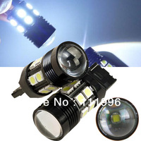Freeshipping 2pcs 12V-30V Super Bright White Lamp T20 10W 7440 7443 Cree R5 Optical Projector 12 SMD LED Brake Tail Light #ON1