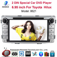 2din 6.95 inch Car DVD Player with MP3 USB FM RDS GPS Radio Audio Video Touch Screen Russian Portuguese English For Toyota Hilux