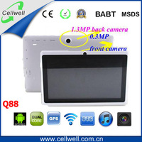 China Hot Sale 7-inch Android Touch Tablette PC Tab Q88  Two Camera Free Shipping