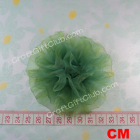 10 Green Organza Carnation Flower Wedding Dress Gift Hair Accessory 8cm Free ship