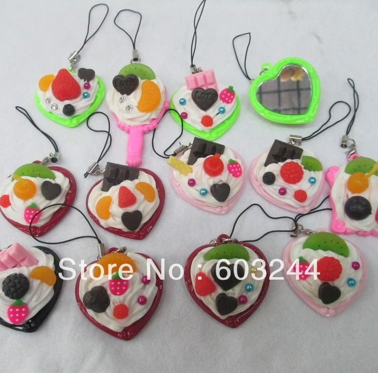 Free Ship 25pcs Mixed 4*4.5cm Fruit Cake Mirror Cream Food Charm Cell Phone Strap Bag Pendants Christmas Gift(China (Mainland))