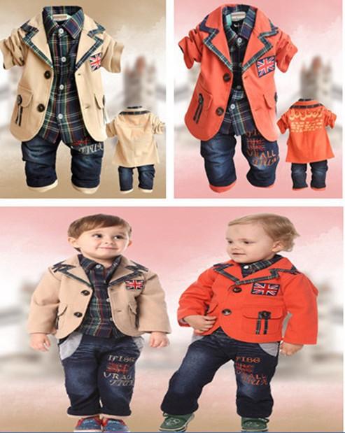 2013 transporte livre do varejo Top Quality roupas de algodão infantis definir meninos jaqueta + camisa + calças 3 pcs / set crianças terno cavalheiro em estoque(China (Mainland))