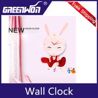 Free Shipping Brand new cute funny creative 3D DIY Rabbit wall stickers/ wall clock pink for Kids Room good gift for children