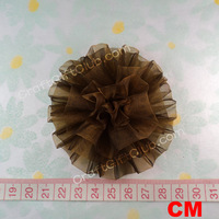 10 Chocolate Organza Carnation Flower Wedding Favor Hair Accessory 8cm Free ship