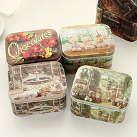 Free shipping,2pcs/lot,Nostalgic vintage scrub small tin tea caddy storage box candy box