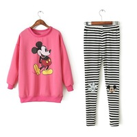 P1127Q2 New spring Women's Cartoon pattern Sweater +Striped Patch Leggings Hoodies Suit Gray white pink
