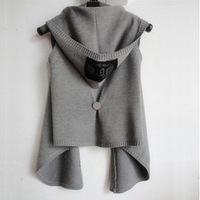 Women's solid color sleeveless hooded cardigan vest short jacket
