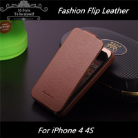 Luxury Flip Leather Cover Original Faddist Ultra thin Litchi Grain Leather Case for Iphone 4 4S 4G S free shipping