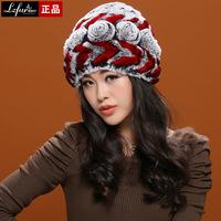 100% Real rabbit Fur hat/ Cap, female Winter Rabbit fur hat, handmade Women warm knitted Cap