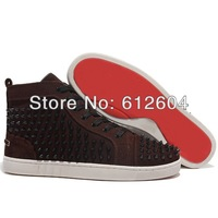 2013 Fahion Coffee color suede sneakers black rivets sneakers rubber sole height increasing shoes for men size 36-46 red bottoms