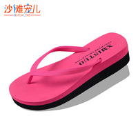 Lovable Secret - Women's candy color casual sandals beach slipper pinch wedges platform flip flops  free shipping
