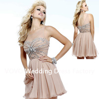 2014 New Arrival Fashion Elegant Beading Party Dress Sexy A-line Top Transparent Tulle Chiffon Cheap Cocktail Dresses CC112713