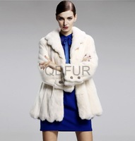 2013 Winter Women Natural Whole-Hide  Mink Fur Coat Female Warm Outwear Elegant Garment QD29171