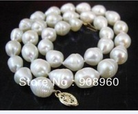 "REAL 18""7-8mm AA+ AKOYA WHITE baroque PEARL NECKLACE  2pc/lot   fashion jewelry"