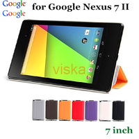 Wholesale DHL50pcs High Quality Ultra Slim PU Leather Case Smart Cover For Google Nexus 7 II 2nd Generation 7 inch Case 10 Color