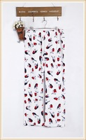 Coral fleece pajama pants lounge pants elastic waist cartoon graphic patterns big waist measurement