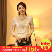 Autumn and winter women plus size slim lace top basic shirt plus velvet thickening lace long-sleeve shirt