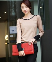 2013 autumn long-sleeve T-shirt female slim 100% o-neck cotton t-shirt fashionable casual basic shirt