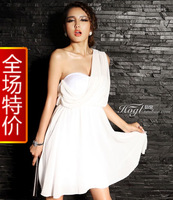 new 2013 Women's sexy autumn fashion chiffon girl dress solid color sexy elegant one shoulder dress