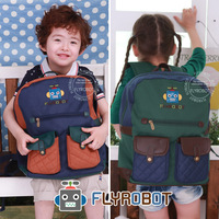 2 colors Flyrobot brand  polyester PU leather bags boys children backpacks girls school bag mochilas  FRT23079