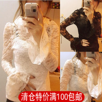 Fashion  top basic shirt lace shirt long sleeve slim flare sleeve women's 2013