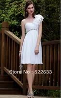 2014 White Sheath Knee-length One Shoulder Celebrity Dresses China Free Shipping
