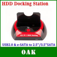 Free Shipping - WLX-879U2 USB2.0 & e-SATA to 2.5''/3.5'' SATA Multi-Function HDD Docking Station SATA Hard Disk Base