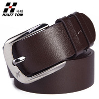 2013 Hautton genuine leather brand belt  cowskin good quality pin buckle black/brown business trouser belts for men-ZK020B