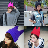Wholesale cheap price unisex winter woollen hat knitted wool cap men and women Orecchiette couple devil cat ear beanies 10pcs