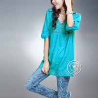 2013 embroidery bamboo fluid national trend handmade beading cute shirt