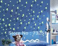 50pcs Glow in the Dark Stars Moons Baby Kids Room Bedroom + 4 Self-adhesive Pads