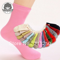 40pcs=20 pairs/lot Wholesale  women's candy color cotton Socks size 34-39 Free shipping cost socks Factory out let price