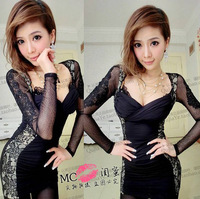 Sexy tight fashion V-neck low-cut lace long-sleeve dress slim hip basic shirt 2013 autumn and winter