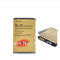 Free shipping Genuine Gold Golden BL-5C 5C BL5C Battery For Nokia 1100 3100 6600 6230 C2-06 C2-00 X2-01 Batterie Bateria ACCU