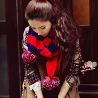 2012 autumn and winter thickening thermal oge ball stripe color block yarn scarf color block decoration scarf