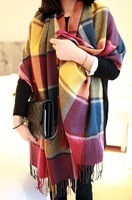 2013 multicolour fashion plaid scarf women's autumn and winter thickening tassel plaid scarf female cape dual