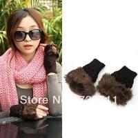 Pretty Coffee Women Ladies Winter Warm Wrist Knitted Wool Fur Fingerless Gloves