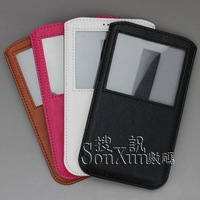 DHL Free shipping Note3 pouch case vertical  leather PU case for Samsung Note3 N9005/N9000 with transparent window