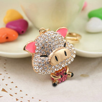 Free Shipping New Design Crystal Cute Pig Keychain  Keyring Bag/Purse Charm gift  Real Gold Plated