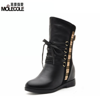 Winter 2013 women's invisible elevator shoes thermal boots medium-leg boots martin boots