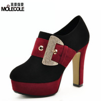 Autumn single shoes bow rhinestone thick heel platform high-heeled color block decoration women's low shoes 3792