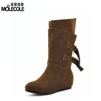 2013 cowhide boots thermal medium-leg boots flat snow boots elevator shoes women's