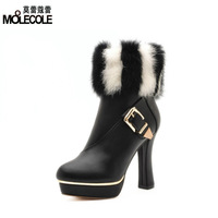 2013 thermal winter rabbit fur boots thick heel shoes high heels fashion boots martin boots x6656