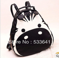 Wholesale Free shipping fashion PU zebra/pinto contrast color bag high quality messenger backpack snacks bags