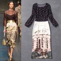 2014 Spring and Summer Runway Fashion Women's Long Sleeves Polka Dot Chiffon TOP + Retro Print Sheath Skirt Set