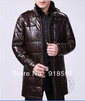 Hot! men sheepskin Slim-fitting down jacket coat men thicken white duck down genuine leather jacket coat of keep warm on winter