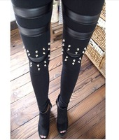 Punk fashion matt faux leather patchwork stereo rivet knees legging tights
