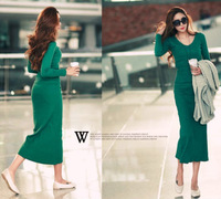 Straight Ankle-Length Fashion Solid Color Women Dress Long Style with Long Sleeves V-neck Casual  Dress for Autumn Winter